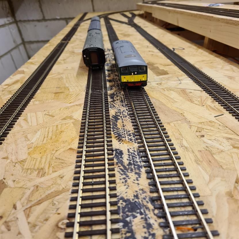 First locos move under DCC power around the layout